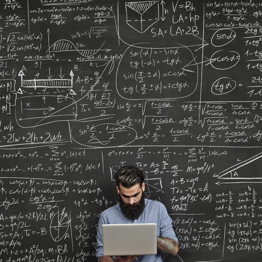 Student doing homework for mathematics.