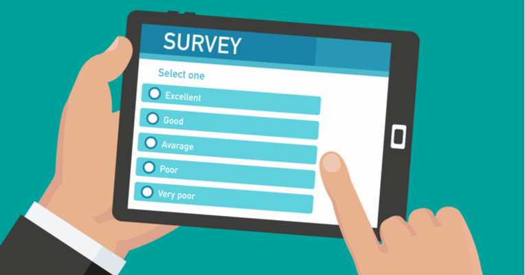 a graphic of a person holding on an iPad with survey