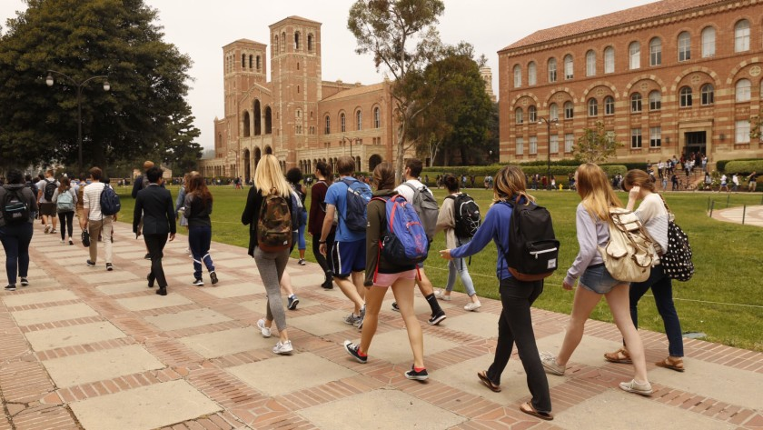 Students walk on campus at UCLA.