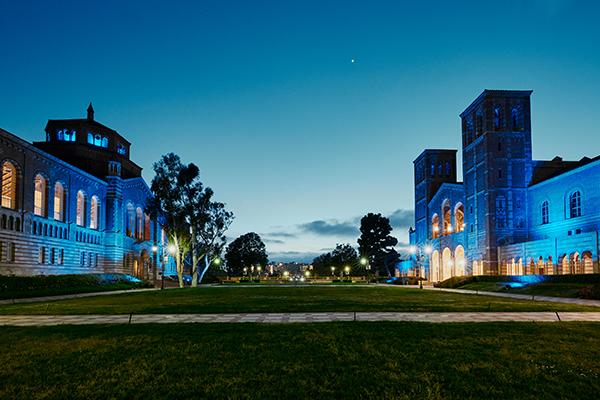 UCLA campus at night.