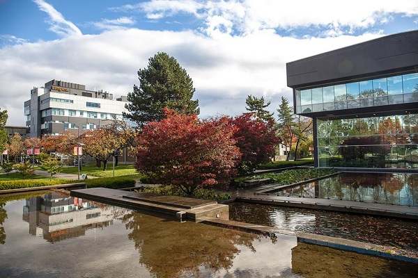 Pretty image of buildings on campus at Langara college