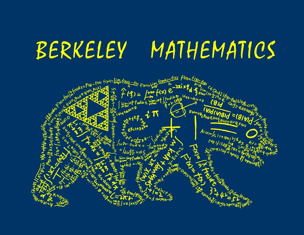 logo of Berkeley mathematics with math equations making up the bear