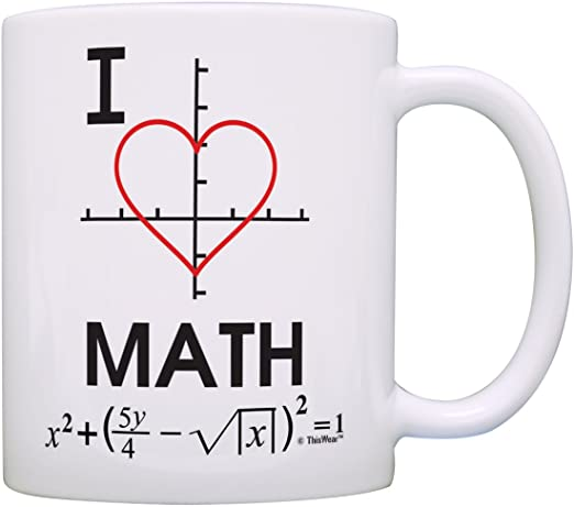 A coffee mug with math symbols showing a love for mathematics.
