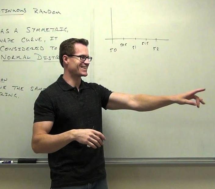 Statistics professor demonstrating random variables