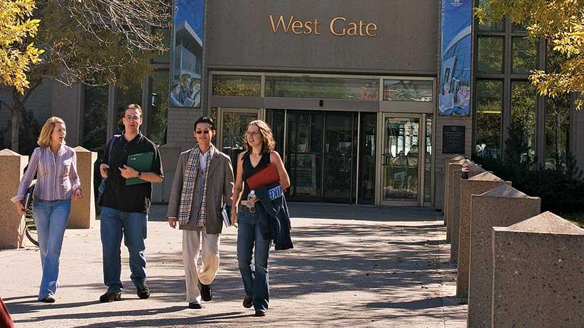 Mount Royal students walking on campus.