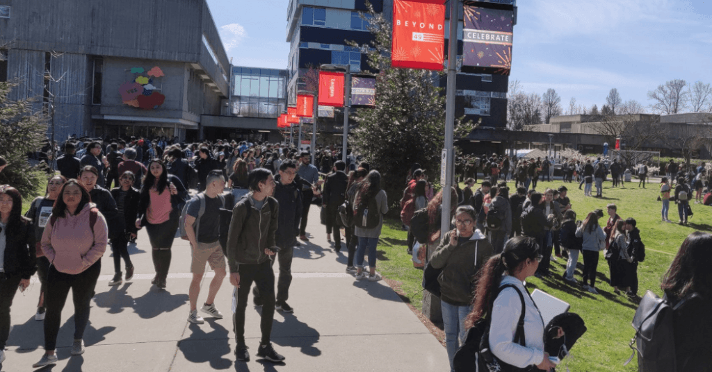 Students on campus at Langara college