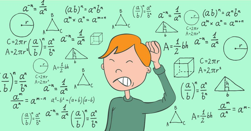 A green background with different math equations and a boy with red hair scratching his head.