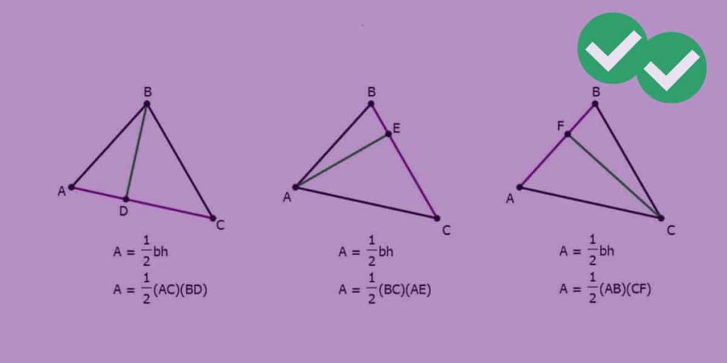 Three different triangles showing graphs with letter variables with formulas.