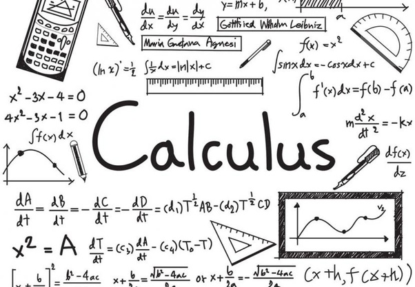 """A poster with calculus functions and written """"Calculus"""" in the middle"""