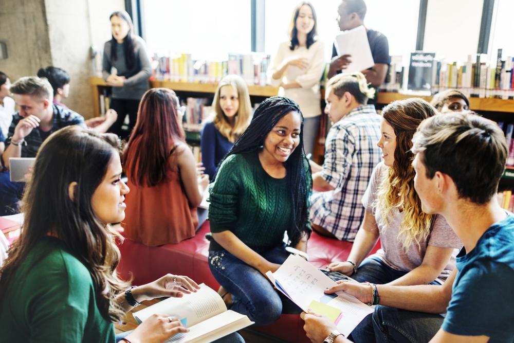 A student gathering at Adelphi university