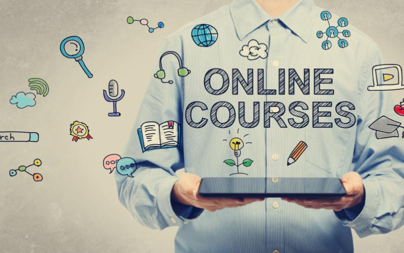 Image of online courses and drawings that come along with it.