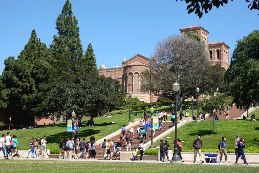 Students on campus walking to class.