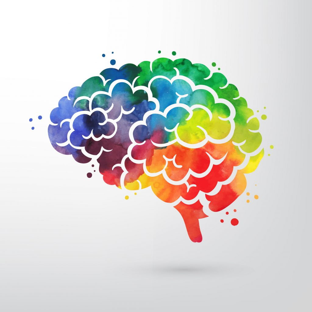 A colorful brain with rainbow like setting.