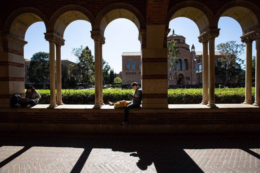Students working on arches at campus.