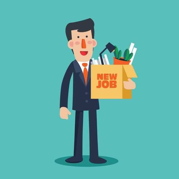 a person heading into a new job