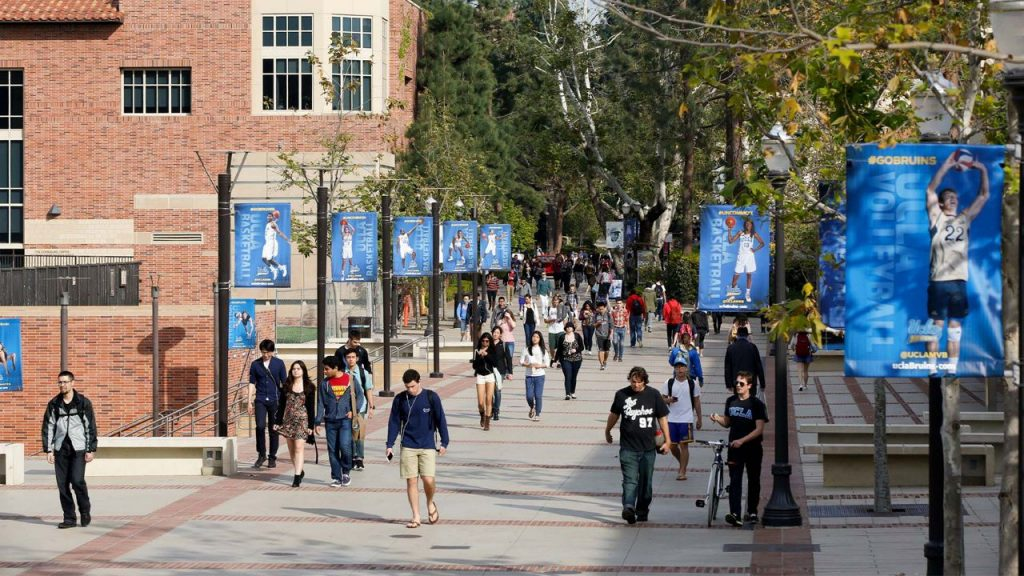 Students walking on campus at UCLA.