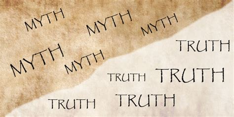 A piece of paper with the words 'MYTH' and 'TRUTH' on each side.
