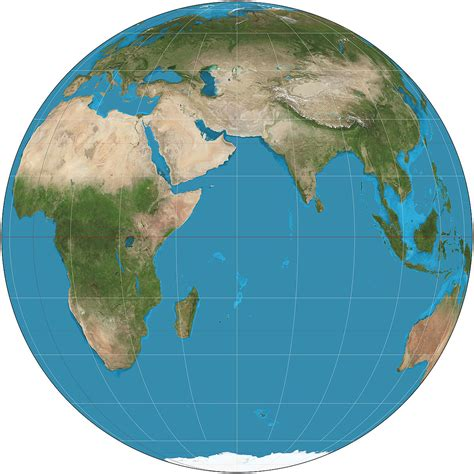 A rounded map of the world.