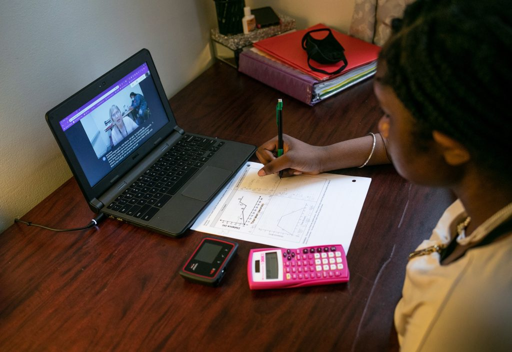 University of California, Irvine student taking online course